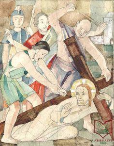 Stefán Henrik: Krisztus elesik a kereszttel - üvegfestmény terv, ceruza, akvarell, papír, 1932 körül Art, Painting