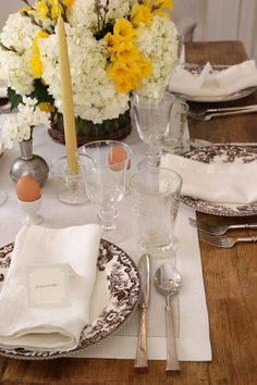 Easter Table Setting!  Daffodils, Brown Eggs & Wheat Candles