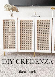 Credenza Ikea, Ikea Ivar Cabinet, Credenza Decor, Furniture Makeover, Diy Furniture, Furniture Storage, Upcycled Furniture, Diy Sofa Table, Console Table