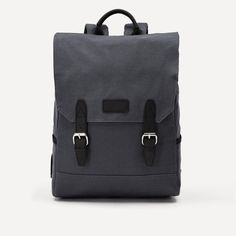 Cotton Twill and Leather Explorer Backpack in Charcoal | Frank & Oak