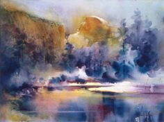"""Contemporary Painting - """"Frosting Half Dome"""" (Original Art from Fealing Lin Watercolors)"""