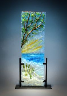 """""""Restless Sea"""" Glass Frit Painting by Diane Quarles Light Glass Studio Glass Wall Art, Fused Glass Art, Glass Paperweights, Stained Glass Art, Seahorse Art, Glass Fusing Projects, Glass Art Pictures, Kiln Formed Glass, Crushed Glass"""
