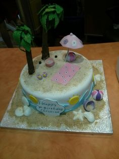 Beach Birthday cake from QUEEN BEE EDIBLE ART