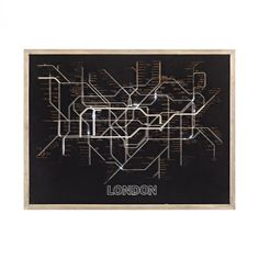 Home Decor By Sterling Industries Tubetime Grey with Black 24-Inch Wood and Glass London Tubemap Wall Decor 351-10238