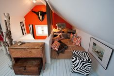 Boys' room.  Love the colors, textures and patterns.