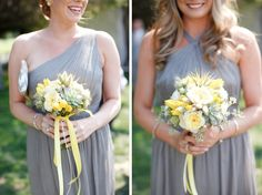 grey and yellow wedding flowers by Katharina Stuart, photos by K Stone Photography | via junebugweddings.com