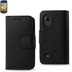 Reiko Wallet Case 3 In 1 For ZTE Z993 Z992 Prelude/Avail 2 Black With Interior Leather-Like Material And Polymer Cover