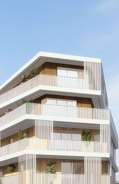 12 Unique Modern House Architecture Style - We seek happiness Building Skin, Building Facade, Building Design, Habitat Collectif, Architecture Résidentielle, Facade Lighting, Social Housing, Facade Design, Stone Houses