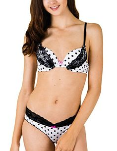 98bac7067b0b6 Caramel Cantina Juniors Polka Dot and Lace Push-up Bra with Matching Bikini  Panties (