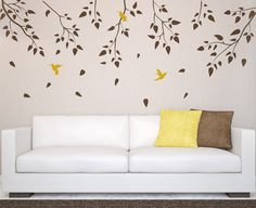 Vinyl Art Tree Branch with birds Birch tree wall decal Wall Sticker Decals Home Decor Art by DecalIsland -  Tree Branch with birds SD 005 on Etsy, $40.00