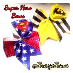 Super Hero Cheer Bows Superman/ Batman by BreezeBows on Etsy, $11.00