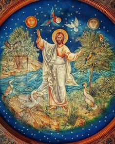 "Christ is risen! The Resurrection of Christ ( source ) ""Now in the springtime, when nature is wearing its mo. Religious Images, Religious Icons, Religious Art, Byzantine Icons, Byzantine Art, Christ Pantocrator, Religious Paintings, Catholic Art, Orthodox Icons"