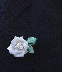 Mens Lapel Pin Flower Lapel Pin Ivory Rose Lapel Kanzashi