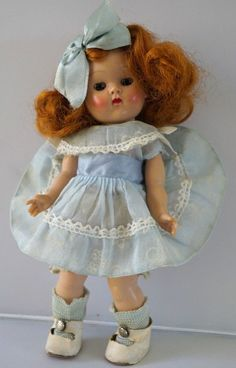 """Vintage Vogue Ginny Strung Doll Rare Stapled Hair Bow """"Connie"""" 1953 Gorgeous!"""