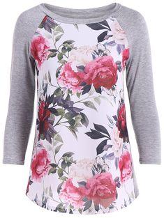 Flower Print 3D Raglan Sleeve T-Shirt
