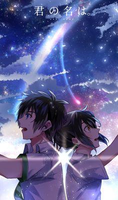 """Miyamizu Mitsuha"" ""Tachibana Taki"" Kimi no na wa Wallpaper W, Kimi No Na Wa Wallpaper, Your Name Wallpaper, Wallpaper Animes, Animes Wallpapers, Film Anime, Manga Anime, Anime Art, Mitsuha And Taki"