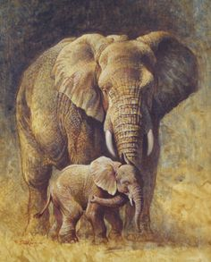 a handsome elephant father, a beautiful elephant mother (interacting with the young elephant) and their impressive son (painting) ~ highly artistic ~ classic ~ (completely) realistic ~ my entire generation as parents in the tribe Wildlife Paintings, Wildlife Art, Animal Paintings, Animal Drawings, Elephant Paintings, Art Paintings, Indian Paintings, Abstract Paintings, Elephant Love