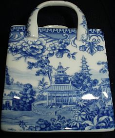 "Blue & White china bag. ""Repinned by Keva xo"""