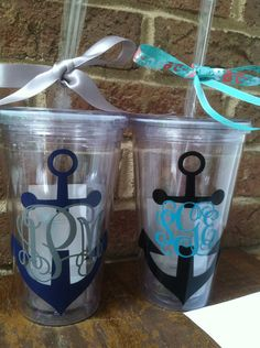 Nautical themed Personalized tumbler