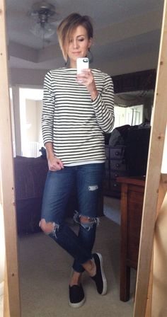 small stripes, black cut out leather earrings, distressed denim, black sneakers