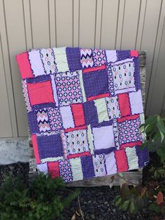 Rag Quilt and Baby Blanket With Coral Purple and Gold.  Car Seat Canopy Option