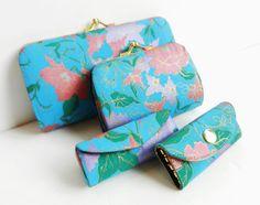 Silk Womens Travel Set - Vintage Lipstick Case, Jewelry Holder, Coin purses/ Tropical Thai. $20
