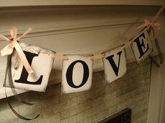 Rustic Wedding love banner - DIY wedding garland for Valentine's day weddings, Bridal shower decor#Valentine's Day