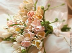 Bouquet of freesia, cold porcelain, bridal bouquet, Mother's Day, freesia clay, a bouquet of flowers, clay flowers