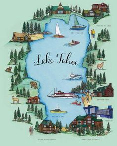 Lake Tahoe Map by JessicaLaughlinShop on Etsy - Decoration and travel art South Lake Tahoe, Lake Tahoe Map, Lake Tahoe Summer, Lake Tahoe Vacation, Sand Harbor Lake Tahoe, Lake Tahoe Nevada, Lac Tahoe, Reno Tahoe, Reno Nevada