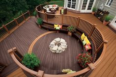 curved fire pit deck. *love