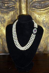 Vintage Treradigt Pärlhalsband med odlade Pärlor
