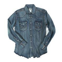 7dfd7cf22ab Cowboy Cut® Long Sleeve Western Snap Indigo Slub Denim Shirt - Antique Blue