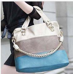New Design High Quality Multicolored Stripe Genuine Leather Tote Bag Handbag 3 Colors