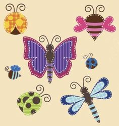 """FREE Applique Patterns..Butterflies, Ladybugs and Bee Patterns... These cute insects would make a darling quilt or wall hanging. How about a butterfly pillow? The bees and ladybugs print out on one page and the butterfly and dragonfly print out separately. They should be good for a 5"""" quilt block."""