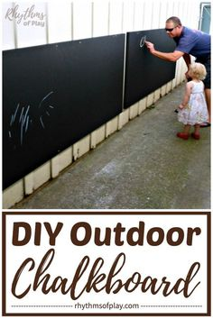 DIY outdoor chalkboard tutorial - How to make an outdoor chalkboard 2 easy ways. Transform your backyard or patio with a large outdoor DIY Chalkboard! Outdoor Learning, Outdoor Play, Outdoor Activities, Outdoor Patios, Outdoor Games, Fun Activities, Outdoor Chalkboard, Chalkboard Paint, Industrial Curtain Rod