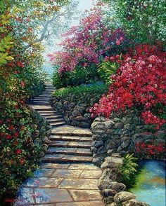 A garden stone path that acsends the viewer towards more colorful gardens. Fantasy Landscape, Landscape Art, Landscape Paintings, Watercolor Paintings, Beautiful Paintings, Beautiful Landscapes, Beautiful Gardens, Beautiful Places, Beautiful Pictures