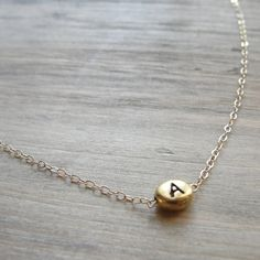 Image of Gold necklace with initial charm - any letter - gold initial charm - handmade gold jewelry