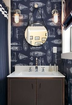 Bathroom by Artistic Designs for Living, Tineke Triggs | navy and white wallpaper | nautical bathroom decor | navy and white home decor