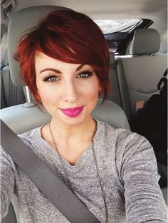 Trend Cutting Red Short Hair