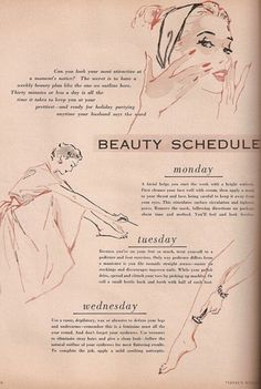 Retro regimen: Beauty editor Mariechen Wilder Smith created this 'Beauty Schedule for Busy Young Wives' in 1952, touching on everything from hair care to pedicures
