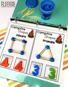 Great STEM Activity Studying Shapes with their Characteristic Sides & Vertices. - June Kindergarten Binder
