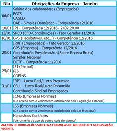 #FiqueAtento às #obrigações da sua empresa! Agenda #Janeiro