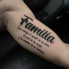 Meaningful Family Quote Bicep Tattoos - Best Inner Bicep Tattoos For Men: Cool Inside Arm Bicep Tattoo Designs and Ideas For Guys Good Family Tattoo, Family Tattoos For Men, Family Tattoo Designs, Best Tattoos For Women, Meaningful Tattoos For Guys, Tattoo Women, Body Art Tattoos, Hand Tattoos, Small Tattoos