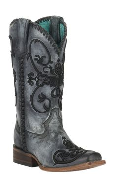 Corral Women's Distressed Black w/ Black Raised Scroll Embroidery Double Welt Square Toe Western Boots | Cavender's