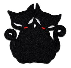 Twin Black Cat DIY Embroidered Sew Iron on Patch