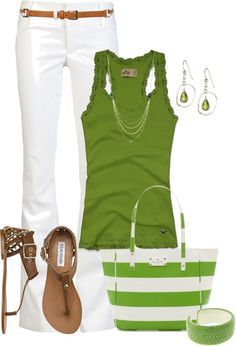 Love this Green & White Outfit for Summer