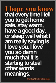 For my boys. I hope you know that every time I tell you to get home safe, stay warm, have a good day, or sleep well what I am really saying is I love you. I love you so damn much that it is starting to steal other words meanings. I Hope You Know, I Love You, Told You So, My Love, The Words, Quotes To Live By, Me Quotes, Funny Quotes, Qoutes