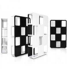 Zwart/wit design wandrek 'DOMINO' uit gelakt hout