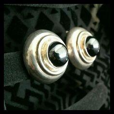 || Vintage || Hematite & Sterling Clip Earrings
