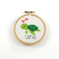 I turtley love you cross stitch pattern, turtle pdf pattern, turtle pun cross stitch, turtle cross s Cross Stich Patterns Free, Embroidery Patterns Free, Learn Embroidery, Cross Stitch Designs, Cross Stitch Embroidery, Hand Embroidery, Funny Embroidery, Hardanger Embroidery, Loom Patterns